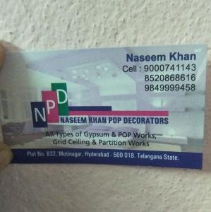 Naseem Khan POP Decorators - Hyderabad - Mistri